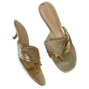Via Spiga ♔ Woven Metallic Kitten Heel Sandals ♔